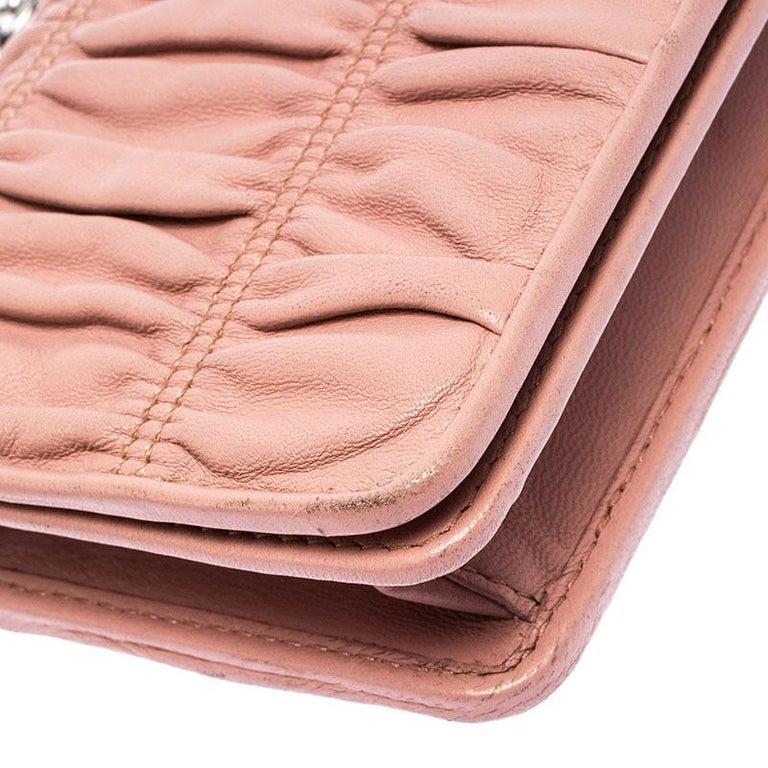 Prada Beige Nappa Leather Mini Bandoliera Wallet On Chain For Sale 3