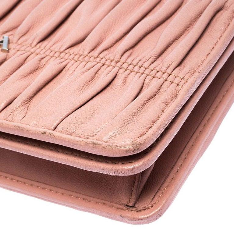 Prada Beige Nappa Leather Mini Bandoliera Wallet On Chain For Sale 4