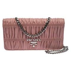 Prada Beige Nappa Leather Mini Bandoliera Wallet On Chain