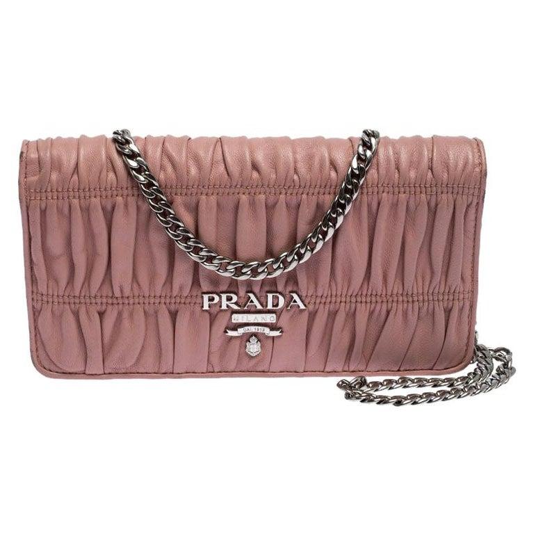 Prada Beige Nappa Leather Mini Bandoliera Wallet On Chain For Sale