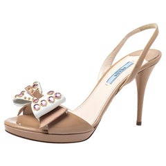 Prada Beige Patent Leather Crystal Studded Bow Slingback Sandals Size 38