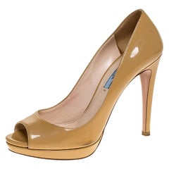 Prada Beige Patent Leather Peep Toe Platform Pumps Size 38.5