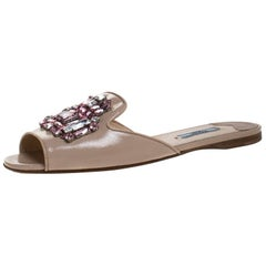 Prada Beige Patent Saffiano Leather Crystal Embellished Flat Slides Size 39