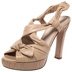 Prada Beige Pleated Leather Bow Detail Platform Slingback Sandals Size 37.5