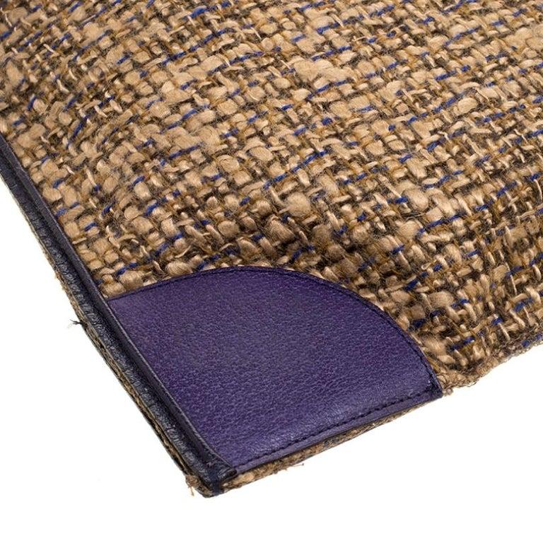 Prada Beige/Purple Tweed and Leather Flat Tote For Sale 6