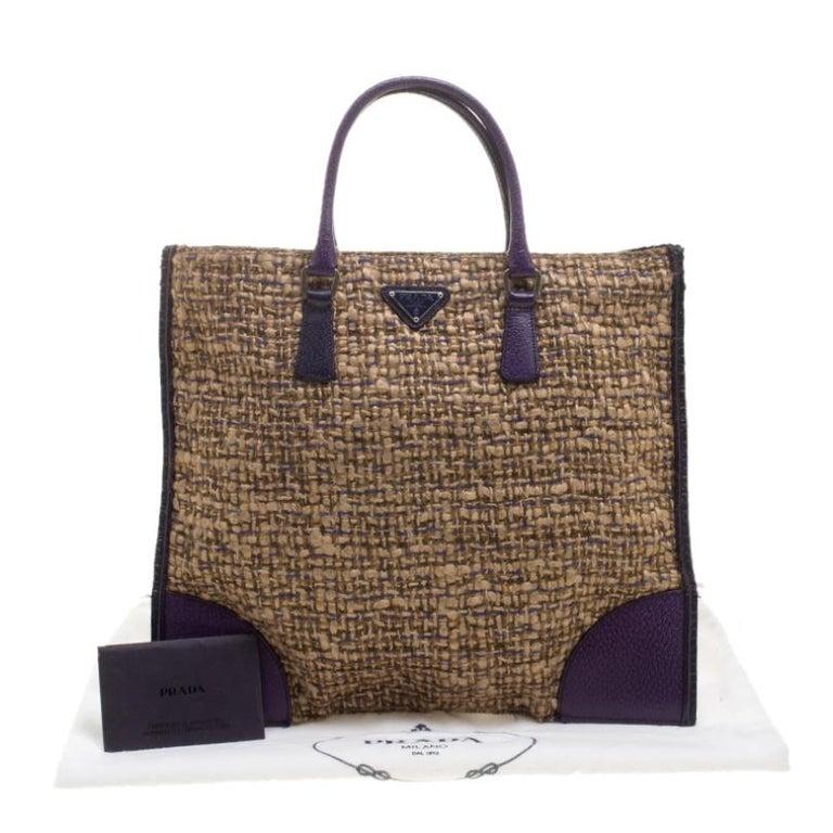Prada Beige/Purple Tweed and Leather Flat Tote For Sale 7