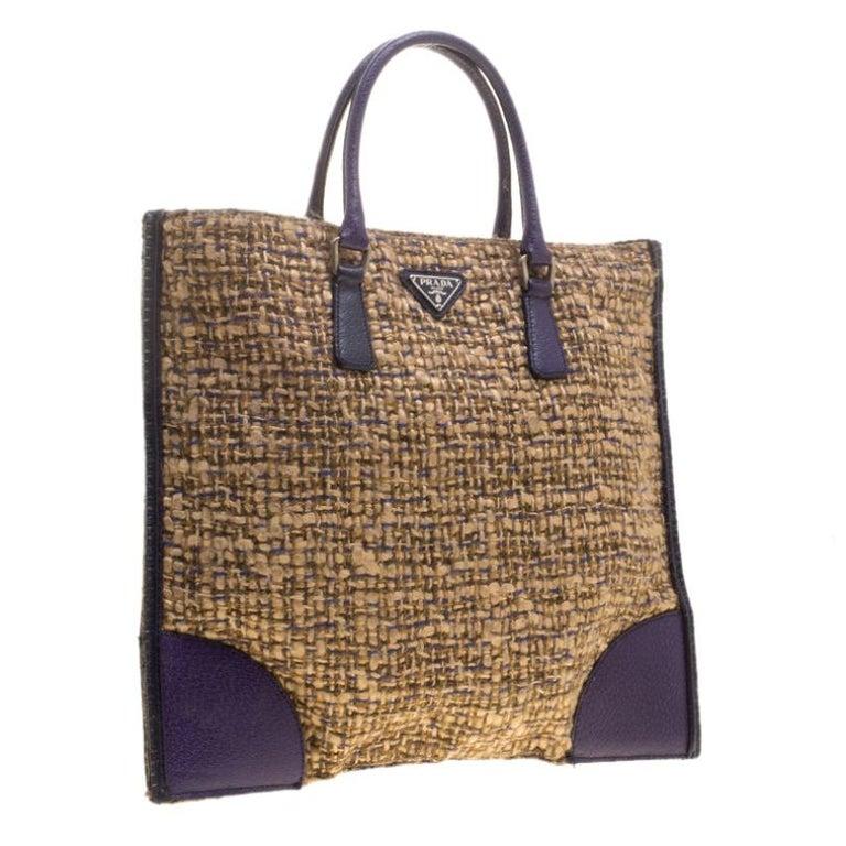 Women's Prada Beige/Purple Tweed and Leather Flat Tote For Sale
