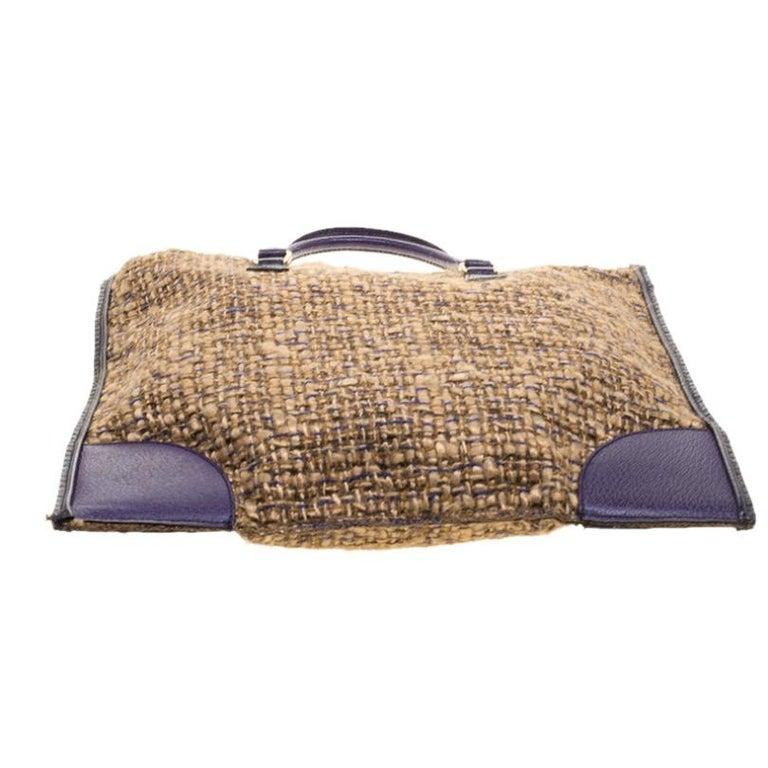 Prada Beige/Purple Tweed and Leather Flat Tote For Sale 1