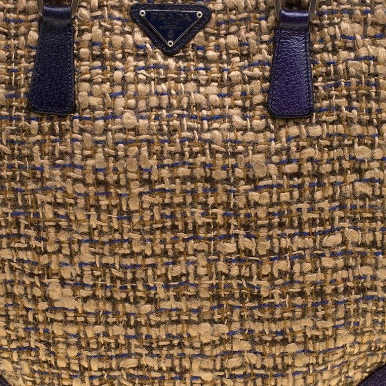 Prada Beige/Purple Tweed and Leather Flat Tote For Sale 2