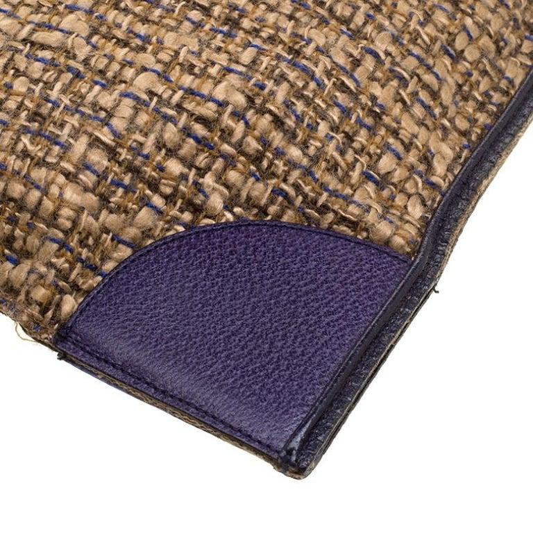 Prada Beige/Purple Tweed and Leather Flat Tote For Sale 3