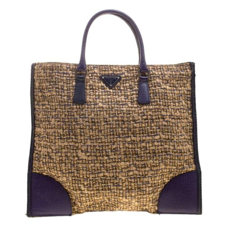 Prada Beige/Purple Tweed and Leather Flat Tote For Sale