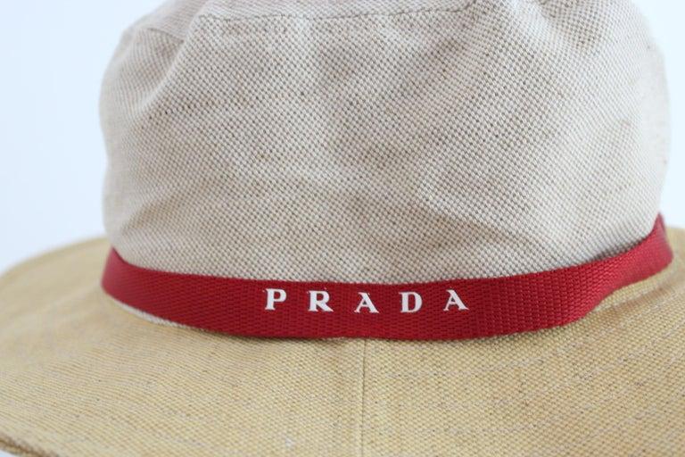 Prada Beige Red Linen Cotton Unisex Cowboy Hat  6