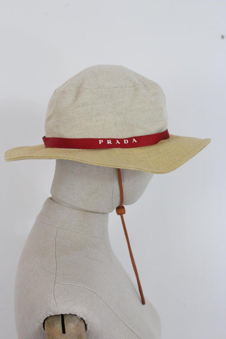 Prada Beige Red Linen Cotton Unisex Cowboy Hat  In Excellent Condition In Brindisi, Bt