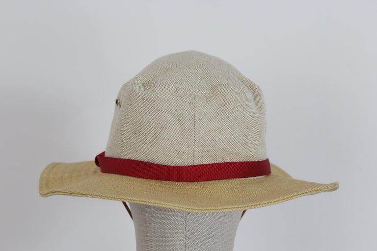 Women's or Men's Prada Beige Red Linen Cotton Unisex Cowboy Hat