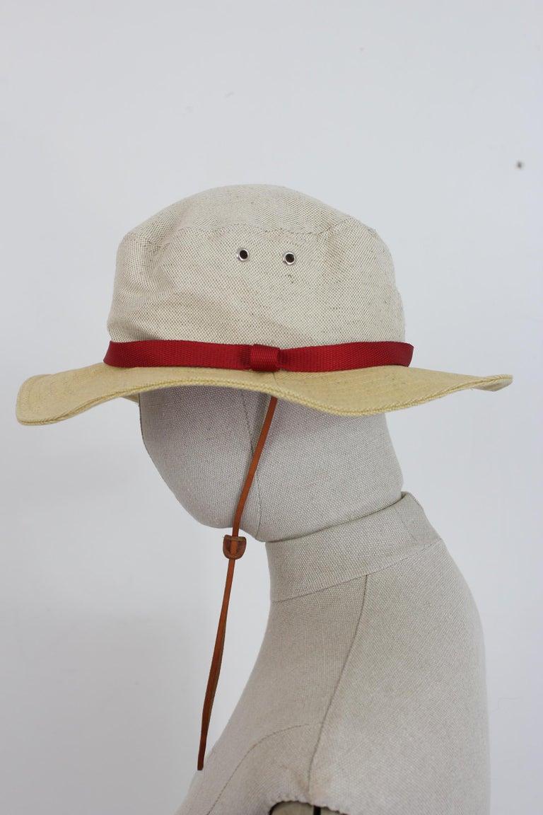 Prada Beige Red Linen Cotton Unisex Cowboy Hat  1