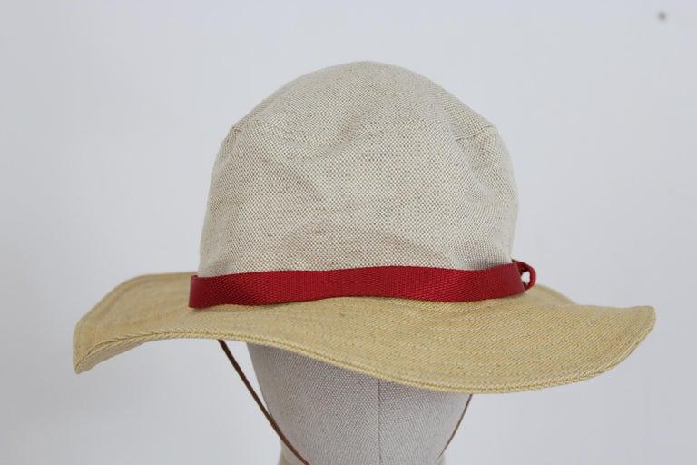 Prada Beige Red Linen Cotton Unisex Cowboy Hat  2