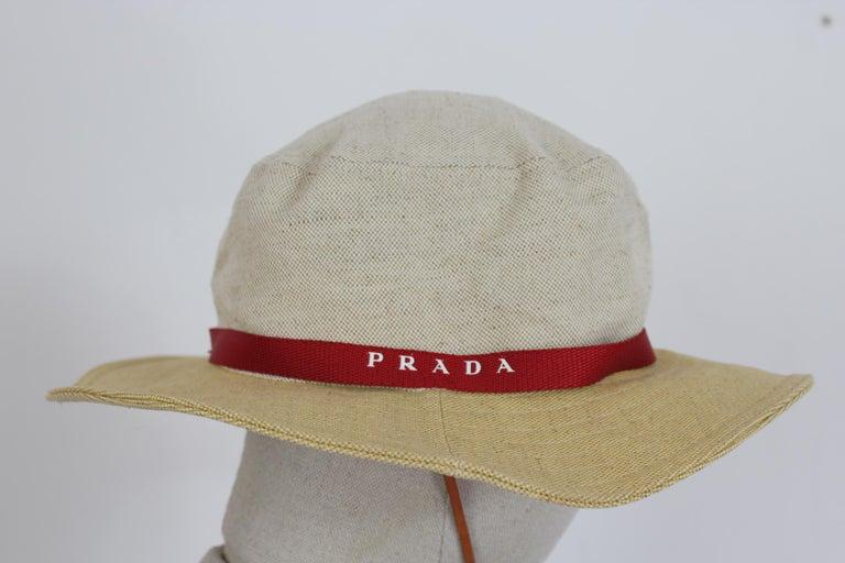 Prada Beige Red Linen Cotton Unisex Cowboy Hat  3