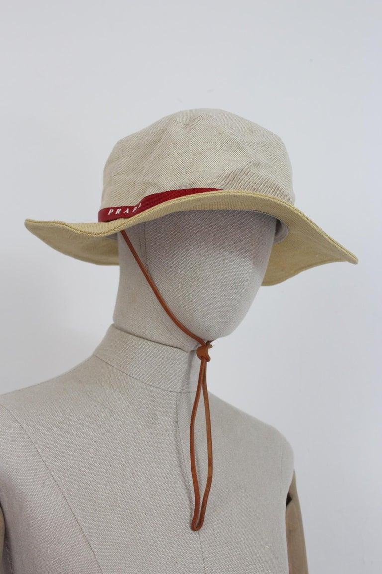Prada Beige Red Linen Cotton Unisex Cowboy Hat  4