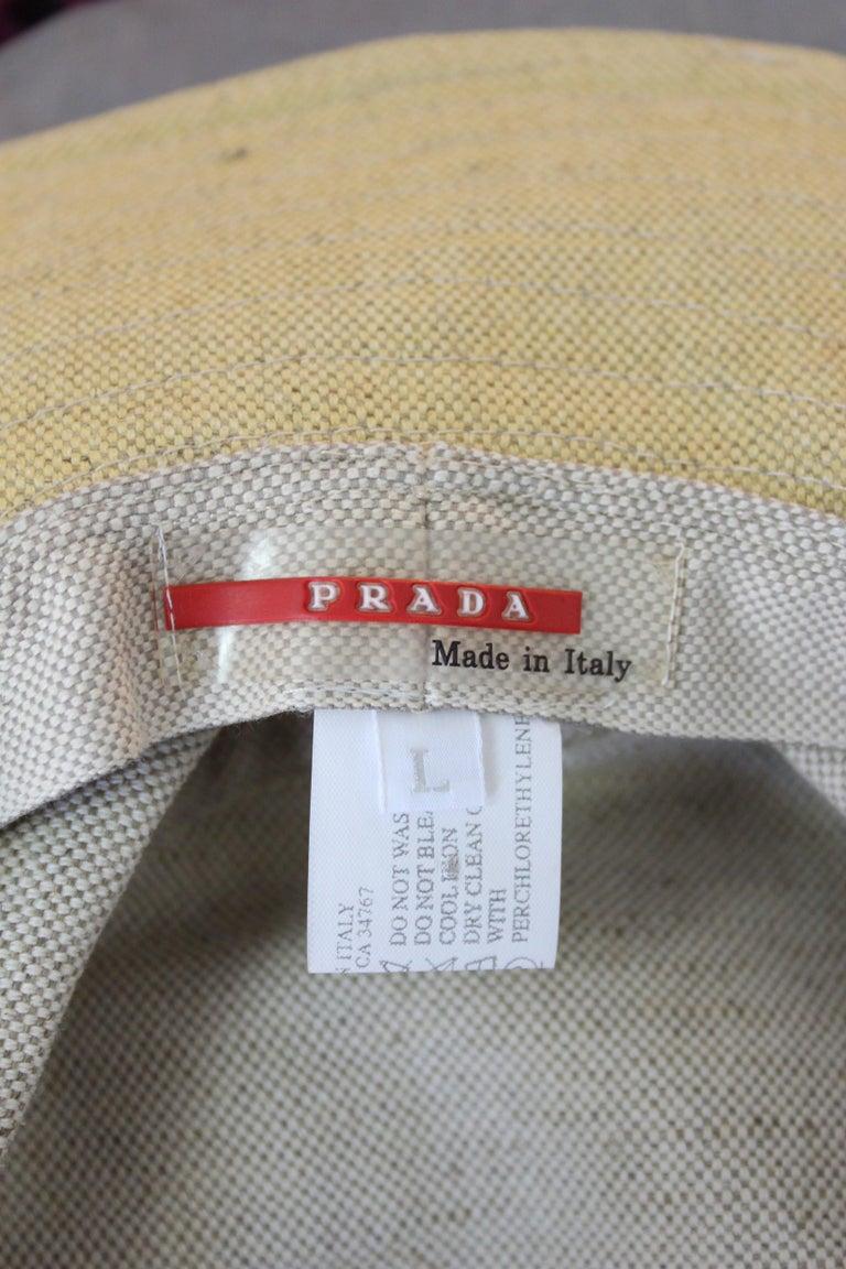 Prada Beige Red Linen Cotton Unisex Cowboy Hat  5