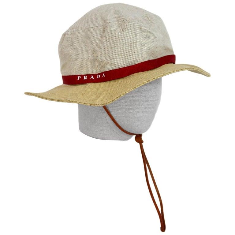Prada Beige Red Linen Cotton Unisex Cowboy Hat