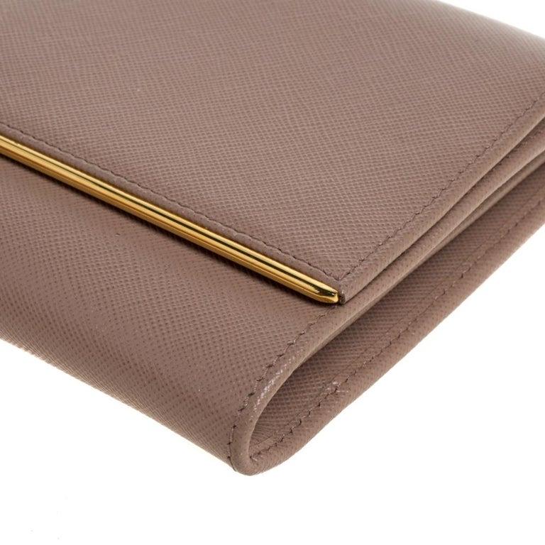 Prada Beige Saffiano Leather Metal Detail Clutch For Sale 6