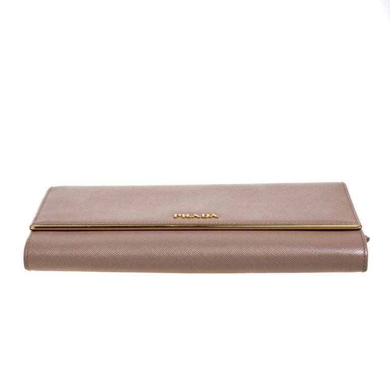 Prada Beige Saffiano Leather Metal Detail Clutch For Sale 1