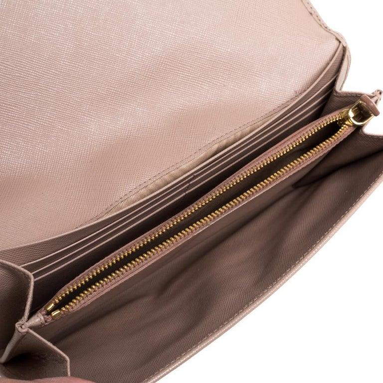Prada Beige Saffiano Leather Metal Detail Clutch For Sale 2