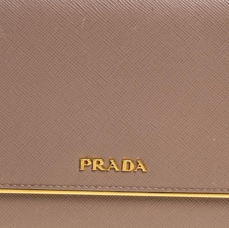 Prada Beige Saffiano Leather Metal Detail Clutch For Sale 4