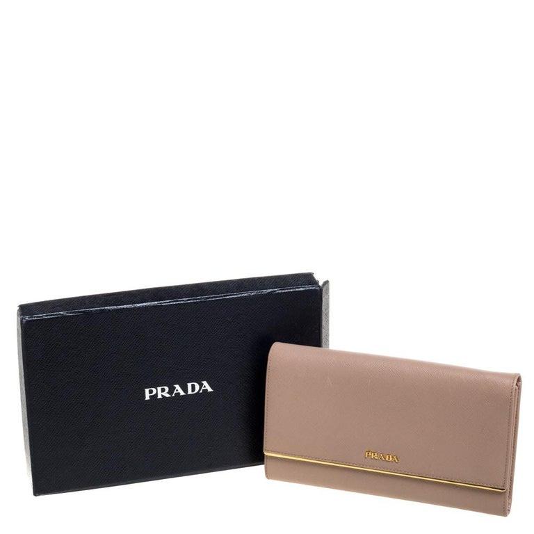 Prada Beige Saffiano Leather Metal Detail Clutch For Sale 5