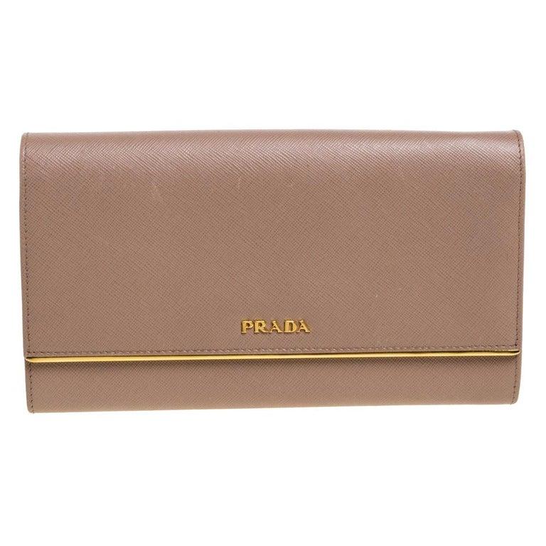 Prada Beige Saffiano Leather Metal Detail Clutch For Sale