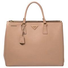 Prada Beige Saffiano Lux Leather Executive Double Zip Tote