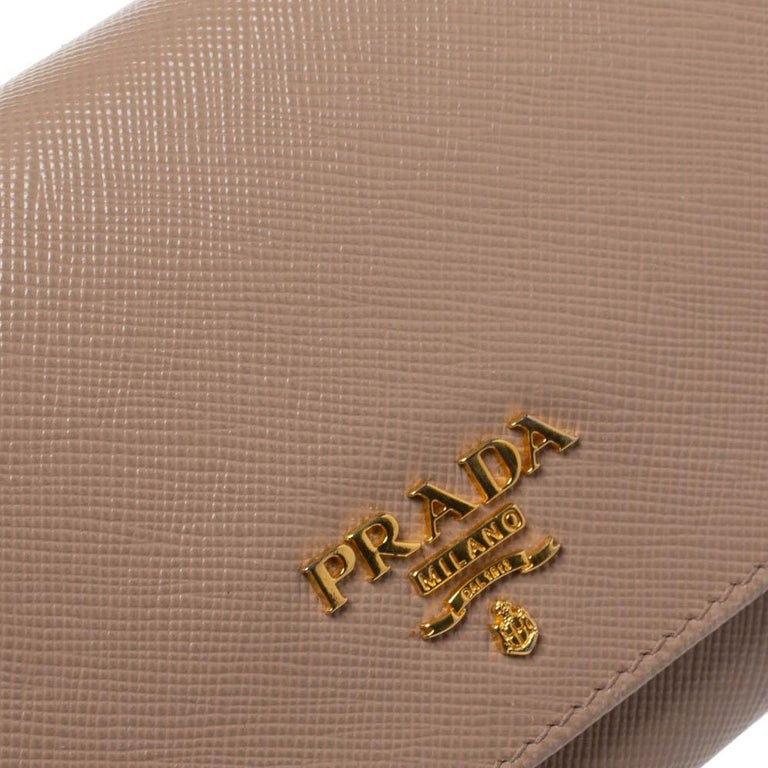 Prada Beige Saffiano Lux Leather Flap Continental Wallet For Sale 4