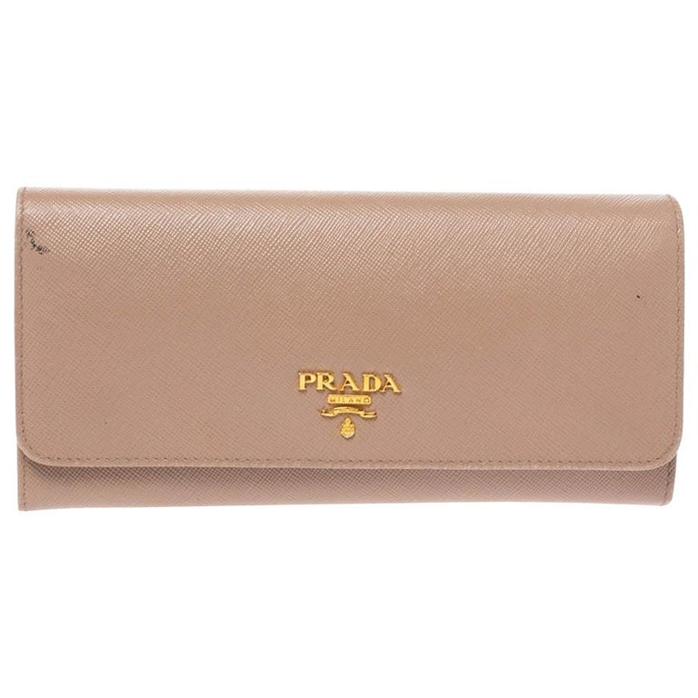 Prada Beige Saffiano Lux Leather Flap Continental Wallet For Sale