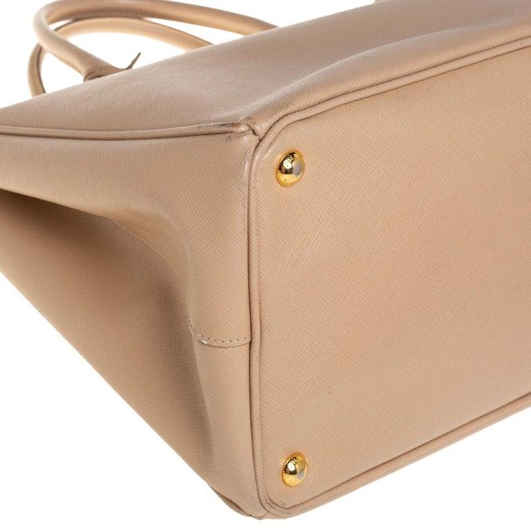 Prada Beige Saffiano Lux Leather Large Gardener's Tote For Sale 6
