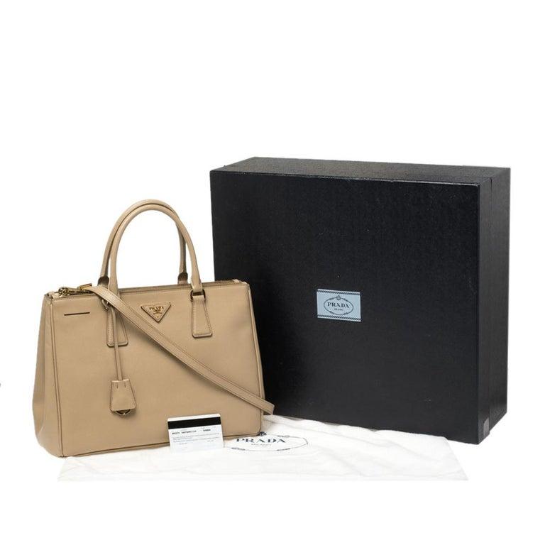Prada Beige Saffiano Lux Leather Medium Double Zip Tote For Sale 10
