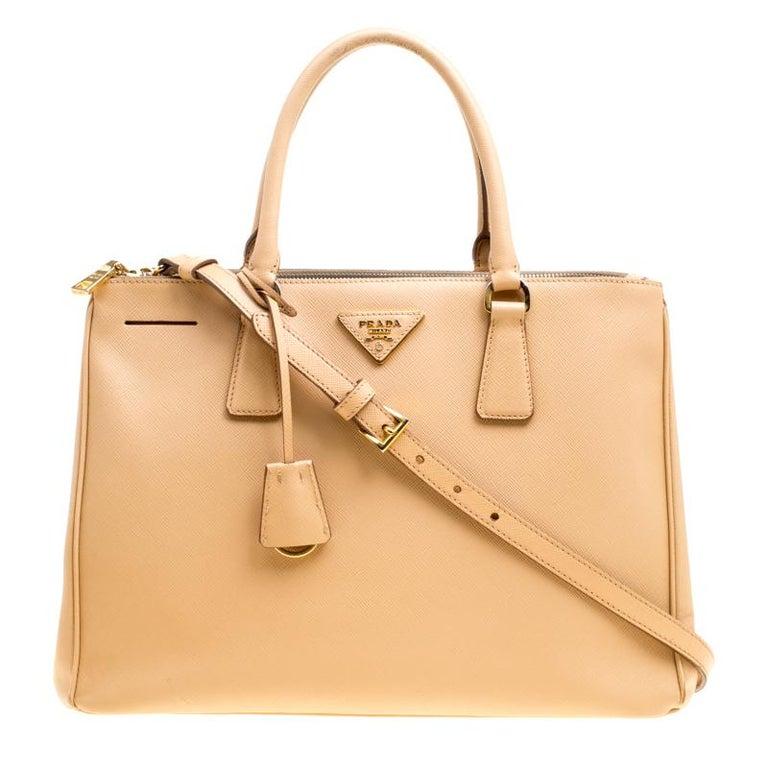 f3a4b93e42cb Prada Beige Saffiano Lux Leather Medium Galleria Double Zip Top Handle Bag  For Sale