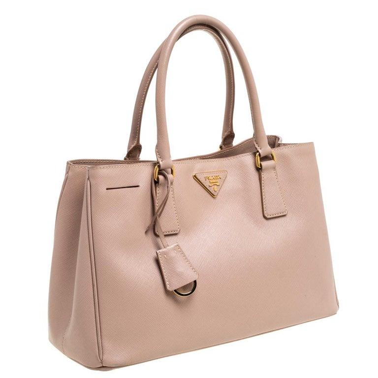 Women's Prada Beige Saffiano Lux Leather Medium Middle Zip Tote For Sale
