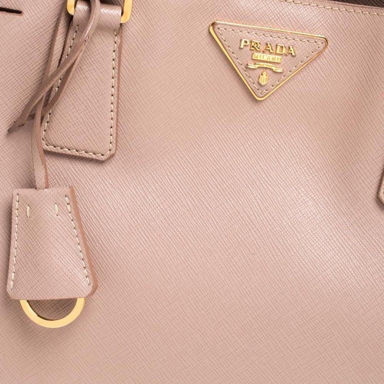 Prada Beige Saffiano Lux Leather Medium Middle Zip Tote For Sale 2