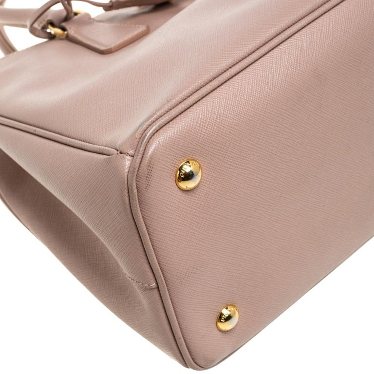 Prada Beige Saffiano Lux Leather Medium Middle Zip Tote For Sale 5