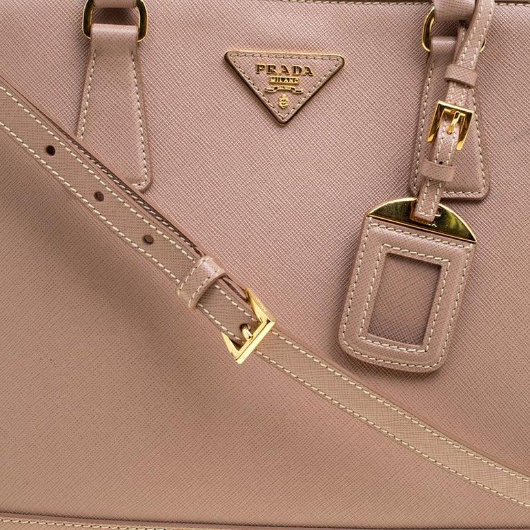 dc6fa4b6663226 Prada Beige Saffiano Lux Leather Open Promenade Satchel For Sale 1