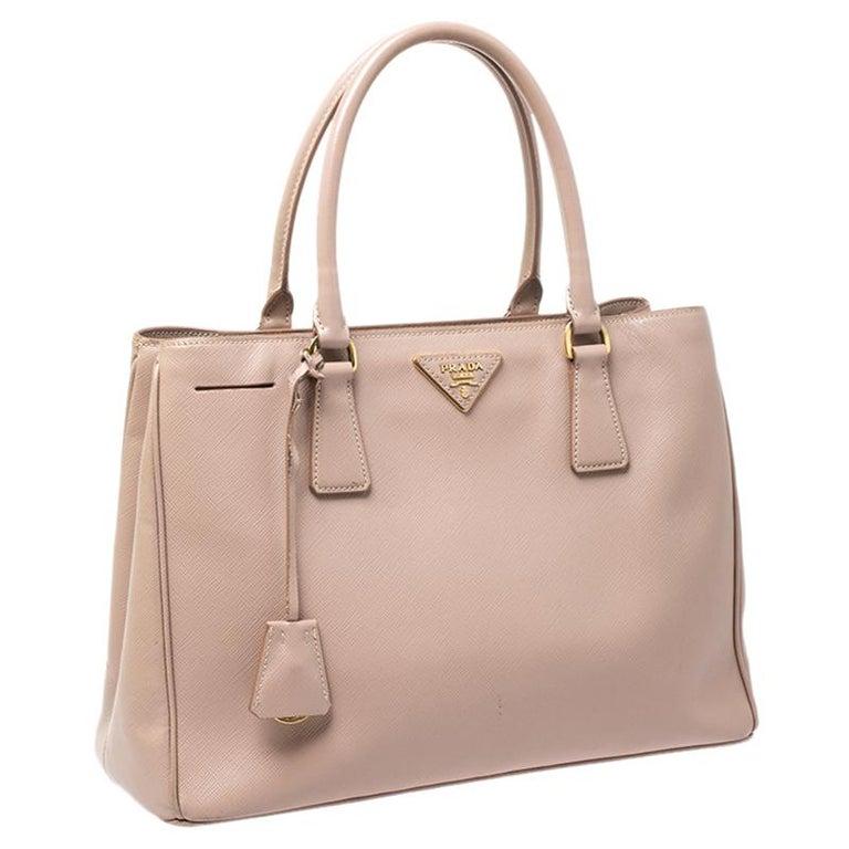 Women's Prada Beige Saffiano Lux Leather Small Tote For Sale