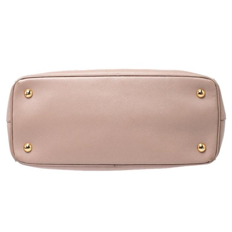 Prada Beige Saffiano Lux Leather Small Tote For Sale 1