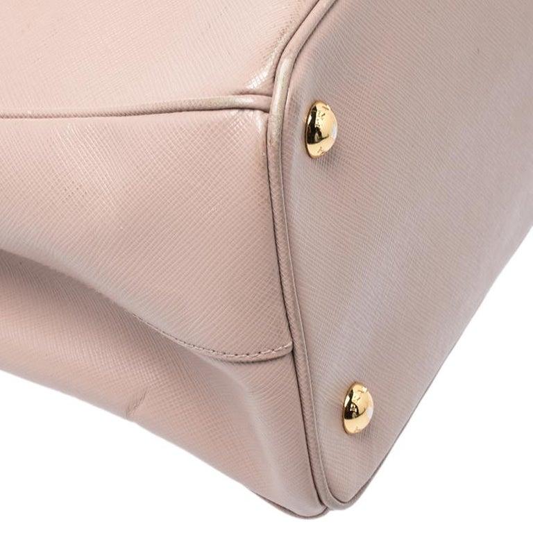 Prada Beige Saffiano Lux Leather Small Tote For Sale 2