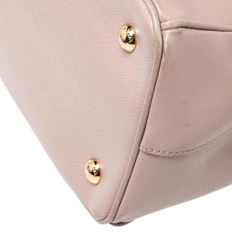Prada Beige Saffiano Lux Leather Small Tote For Sale 3