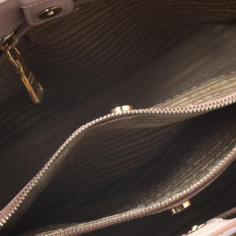 Prada Beige Saffiano Lux Leather Small Tote For Sale 4