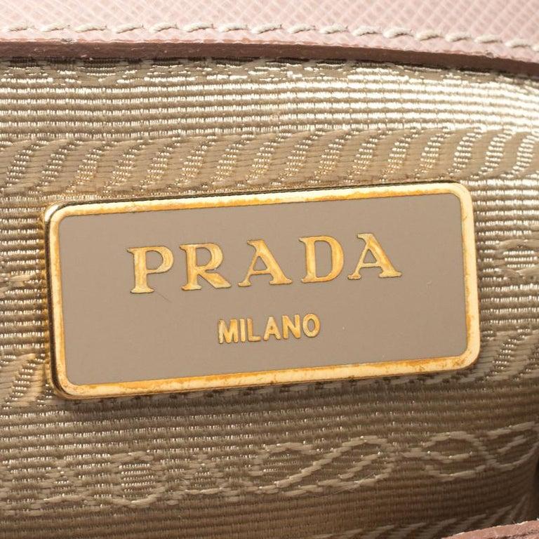 Prada Beige Saffiano Lux Leather Small Tote For Sale 5