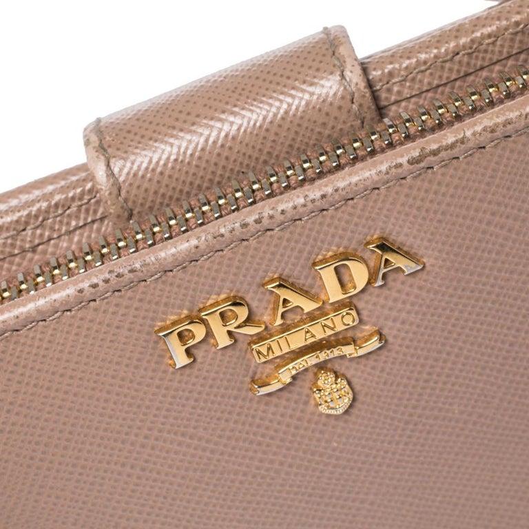 Prada Beige Saffiano Lux Leather Zip Around Compact Wallet For Sale 1
