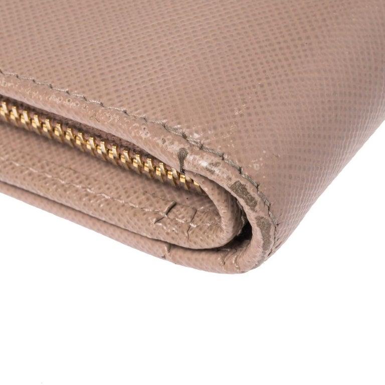 Prada Beige Saffiano Lux Leather Zip Around Compact Wallet For Sale 3