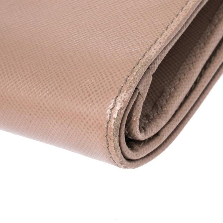 Prada Beige Saffiano Lux Leather Zip Around Compact Wallet For Sale 5