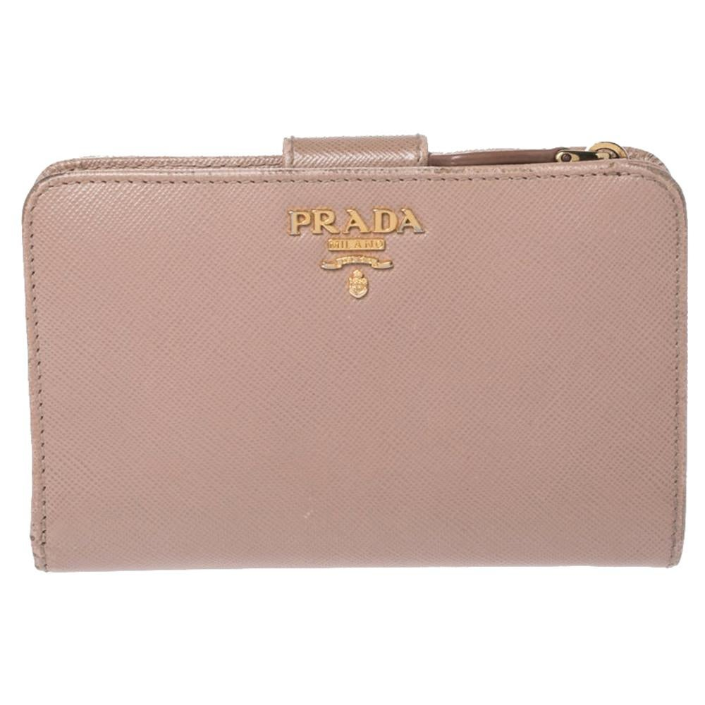 Prada Beige Saffiano Lux Leather Zip Around Compact Wallet